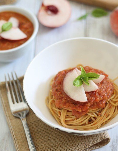 Roasted tomato peach sauce with spaghetti