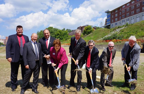 Acting USDA Rural Development Deputy Undersecretary Judith Canales (4th from left) and Rural Development State Director Thomas Williams (5th from left) broke ground recently with Mansfield University officials for Phase II of new student housing. Rural Development provided $35 million in Community Facilities loans toward the project which is slated for completion in fall 2013.