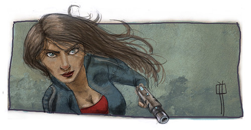 chica con pistola color