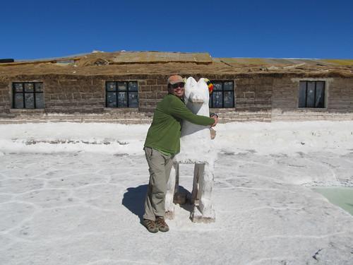 Le Salar d'Uyuni: statue de sel d'un lama