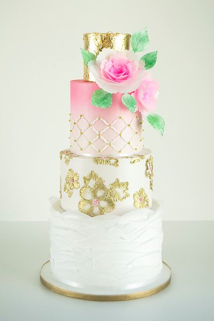 Lovely Gold Brush Embroidery Ombre Wedding Cake by Sugar Tree Cakerie