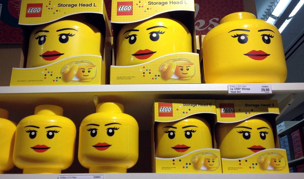 Lady lego storage head