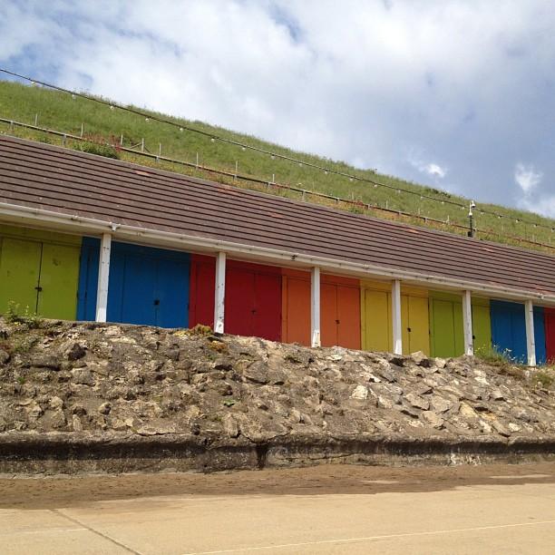 #beachhuts #beach #rainbow #bright #skyline