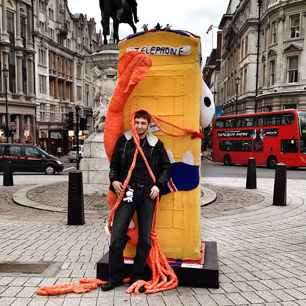 Whodunnknit Pix: Monster shots: this man is clearly thrilled to meet a giant knitted squid and a woolly @btartbox. #btartbox
