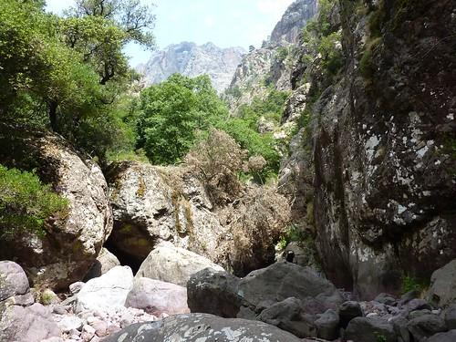 Trace cairnée de Tana di l'Orsu : la traversée du lit du Fangu