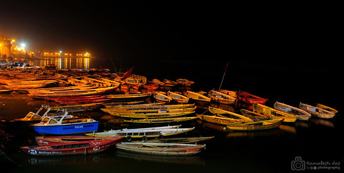 Night at the ghat of Varanasi