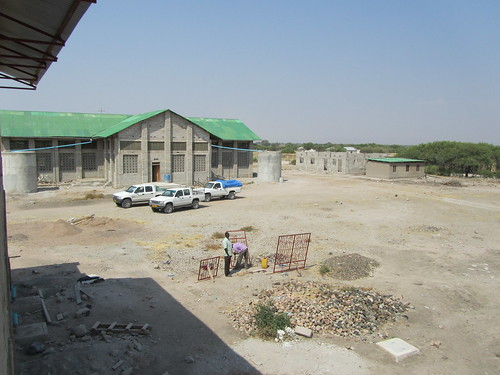The outside of the church being built