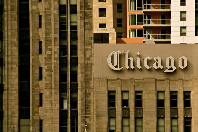 शिकागो ट्रिब्यूनच्या मुख्य इमारतीवरील पाटी