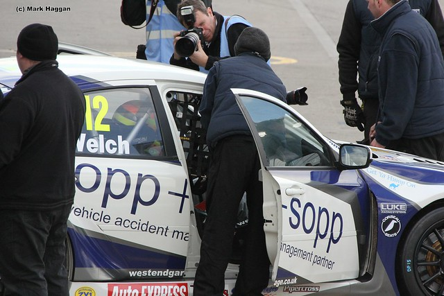 Daniel Welch getting ready for the BTCC race at Donington Park in April 2012