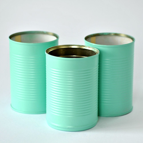 Spray painted empty food tins