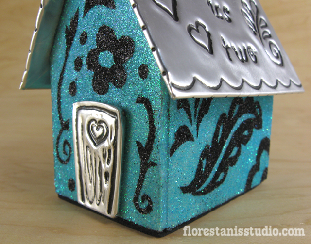 Little House for Just Us Two - wood, glitter, embossed metal