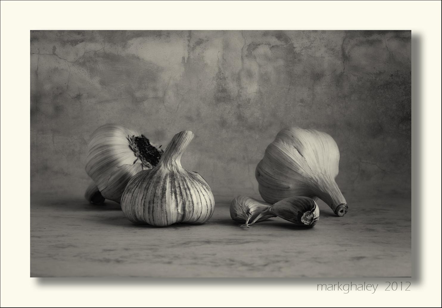 Spanish Garlic Still Life in B+W