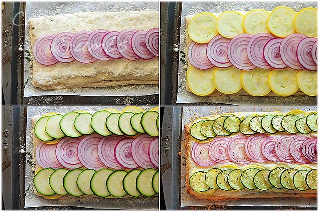 onions, squash, zucchini, bake