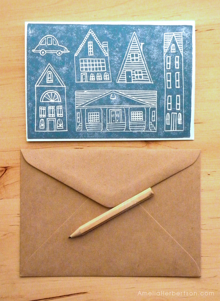 Block Printed City Card