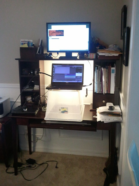 Redneck standing desk experimental do not try at home for Standing desk at home
