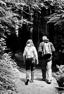 Dave and Kate, Grove of the Patriarchs Trail (B&W)
