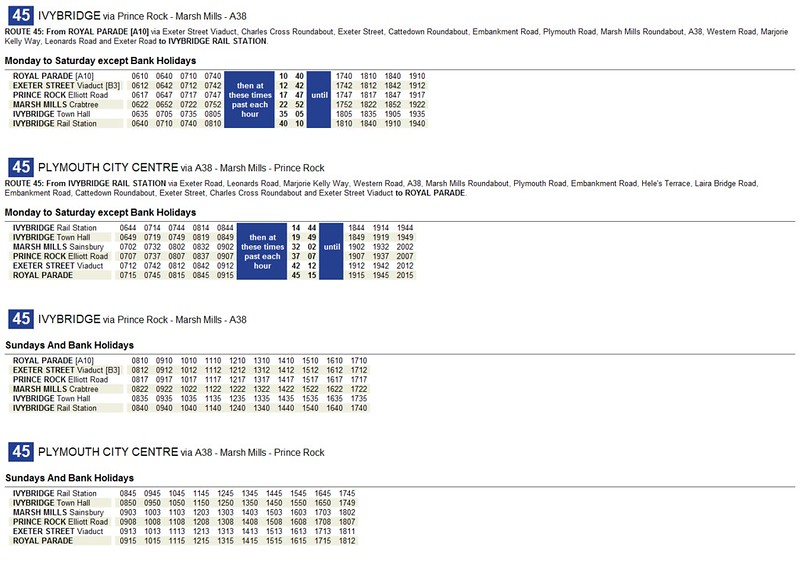 Plymouth CityBus A4 Landscape Timetable
