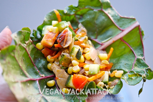 Summer Garden Wraps made with a garden's beautiful bounty! Corn, zucchini, chard, basil and more make these burst with flavor. Vegan, Paleo, Gluten-free