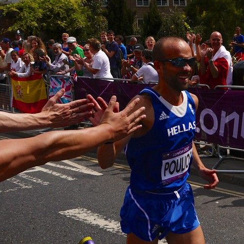 Olympic Marathon High Five!