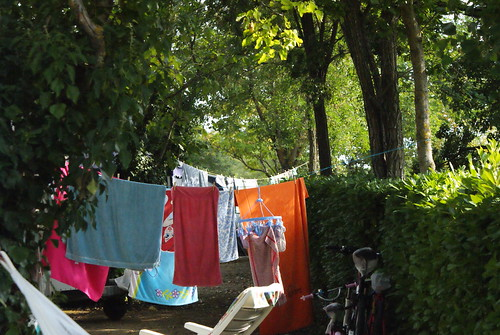 clothesline on campsite