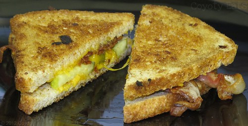 Grilled cheddar, bacon, and pickle on wheat by Coyoty