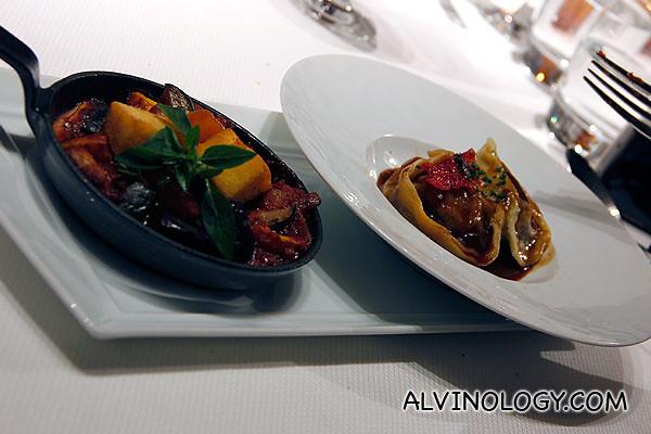 Ravioli a la daube d'agneau and Ratatouille de Legumes