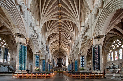 uk summer holiday building religion gothic stainedglass organ devon vaultedceiling exetercathedral