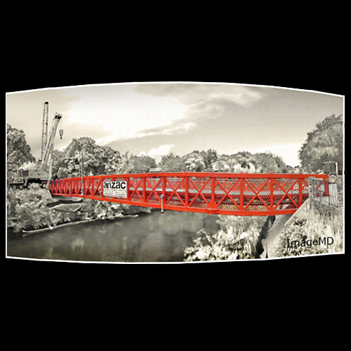 Panorama of new red pedestrian bridge, Coral Gables Waterway, Miami, Florida