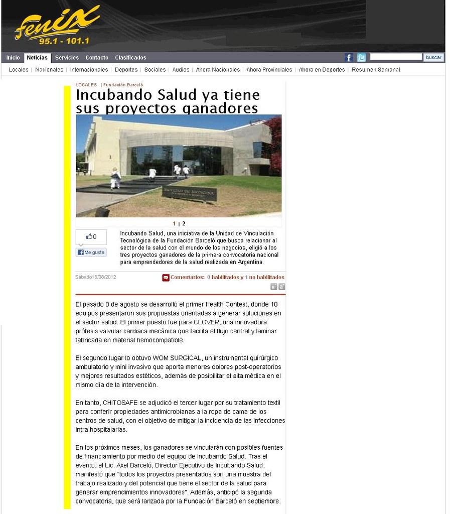 Site Fenix - Incubando Salud ya tiene sus proyectos ganadores - 18.08.12