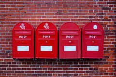 wall, red, post box, letter box, brick, brickwork,