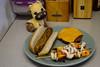 "Barbecued Kielbasa, Veggie Patty w/ Cheese and Onion/Pepper/""Shrimp"" Skewers (Vegan)"