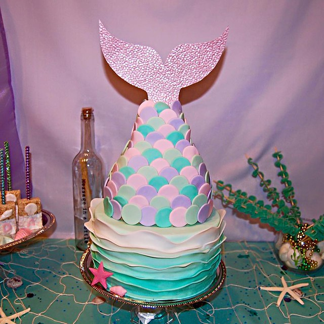 Mermaid Tail Ruffle Cake by Melanii Wright of Baked by Melanii
