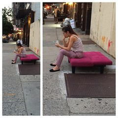 So NY. Pink ottoman on the street, just texting. What's the story?