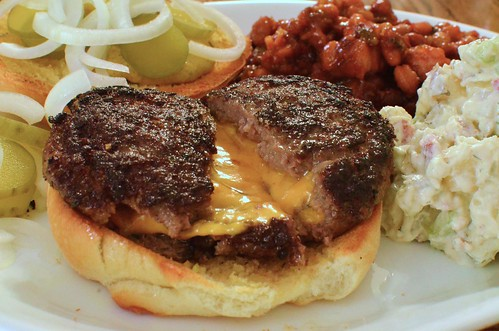 Mmm... cheddar stuffed burger