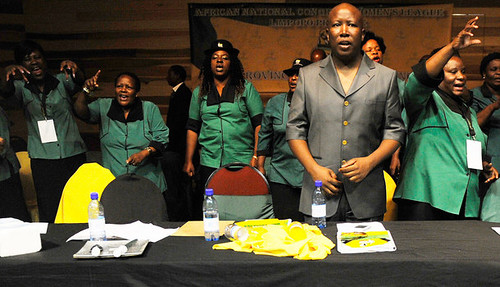 Expelled African National Congress Youth League President Julius Malema celebrates the party's centenary with the ANC Women's League in South Africa. The ANC leadership is meeting later this year in Manguang. by Pan-African News Wire File Photos