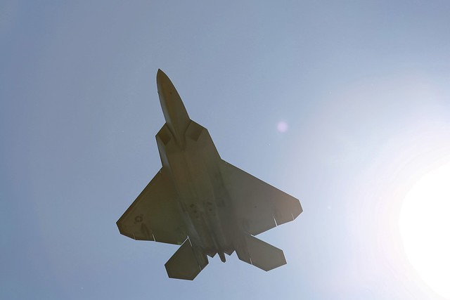 The F-22 flies fast out of the sun