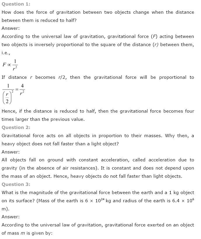 NCERT Solutions for Class 9th Science Chapter 10 Gravitation – Universal Law of Gravitation Worksheet