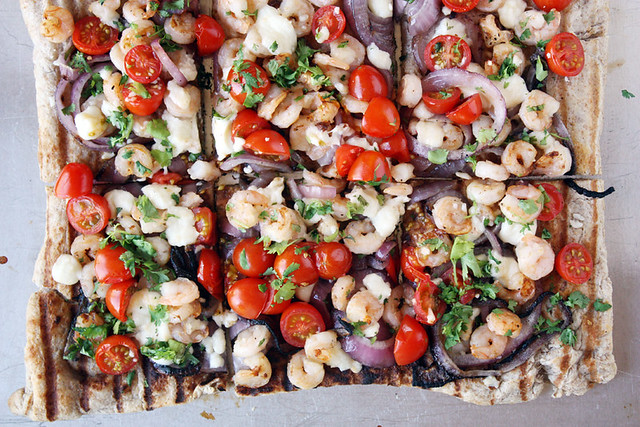 grilled shrimp pizza.