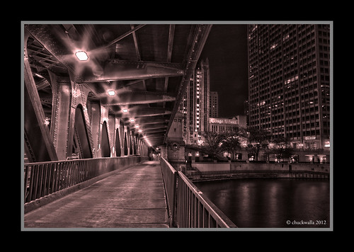 Under Mich Ave Bridge right bw