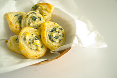 Homemade goat cheese and spinach pinwheels
