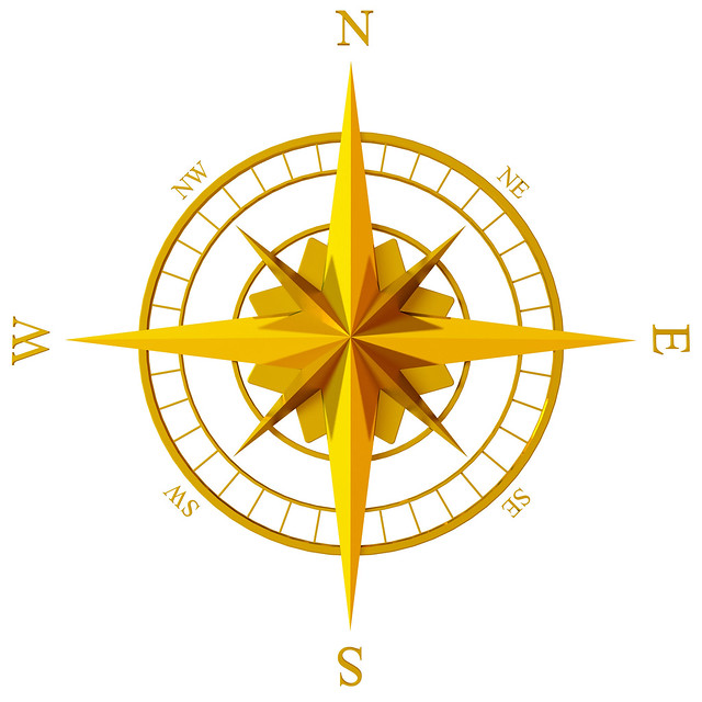 Old Map Compass Rose f...
