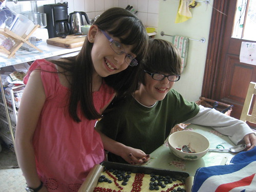 Olivia and Cam with their Union Jack cake