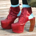 Jeffrey Campbell red leather Lanas