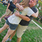 12-018 -- After the picnic, the Minogue family say a tearful and hug-filled good-bye. Maddie '16 hugs her dad, Joe, then, mom Sue.