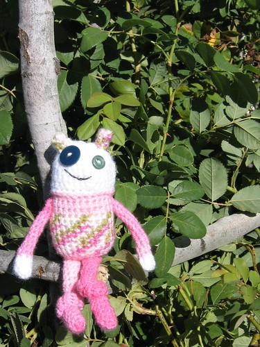 Crochet pink monster
