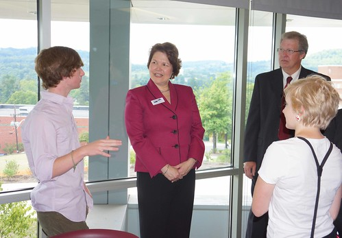 As sunlight streamed through the wall of windows in a Phase I student lounge, Acting Deputy Undersecretary Judith Canales and State Director Thomas Williams talked with Mansfield University Students about the benefits of the new residence halls: increased privacy, modern amenities, and quiet areas with picturesque views to focus on coursework.