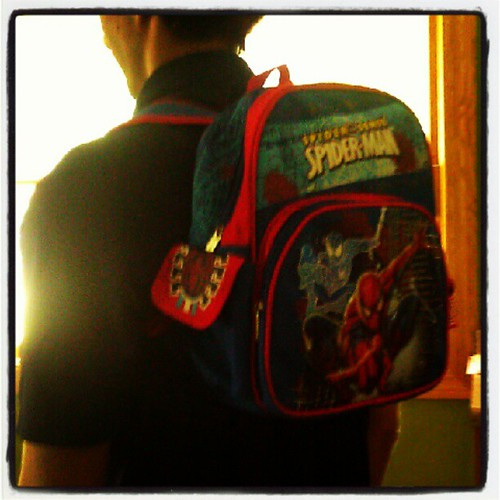 Dad sporting H's new Spiderman backpack. He wouldn't let me take his picture with it, so I had to get one somehow. :)