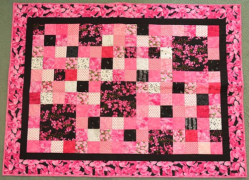 Pink & Black quilt  by Judy T 37 x 49