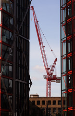 tower block, line, industry, urban area, construction equipment, crane, construction,