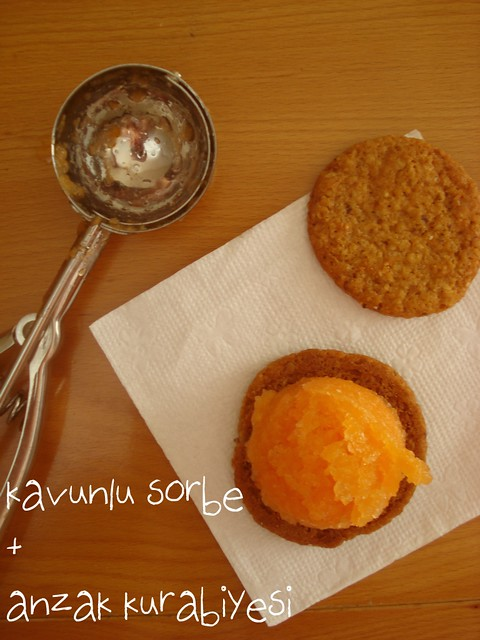 cantaloupe sorbet + anzac biscuits